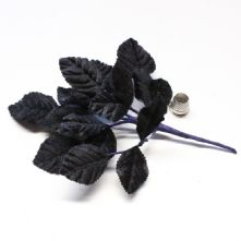Vintage Black Velvet Rose Leaves